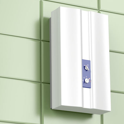 A Tankless Water Heater Installed on a Wall.